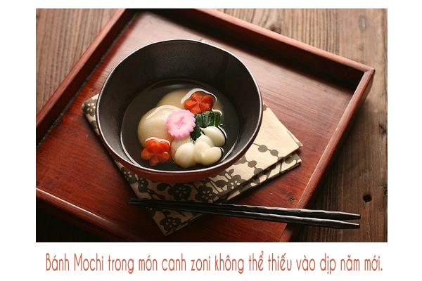 Bánh Mochi trong món canh Zoni không thể thiếu trong các gia đình người Nhật vào dịp năm mới.