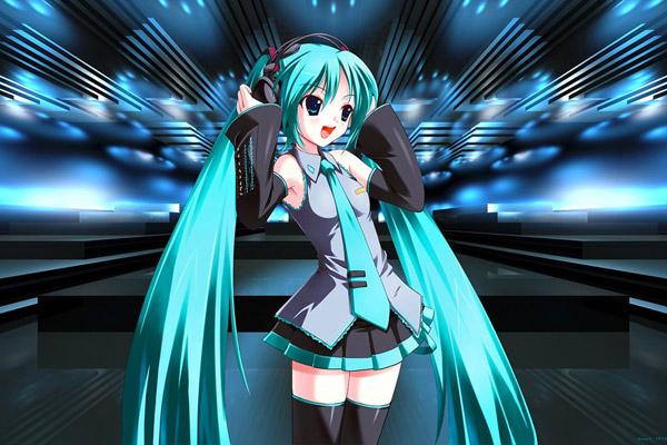Hatsune Miku là cô gái với mái tóc xanh da trời đặc trưng