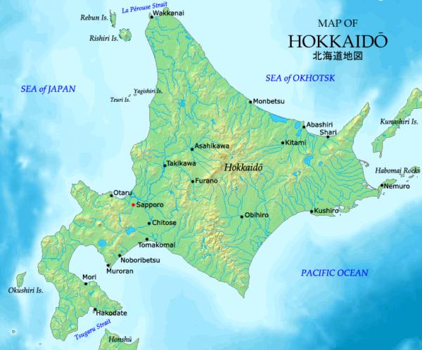 Bàn đồ tình Hokkaido Nhật Bản