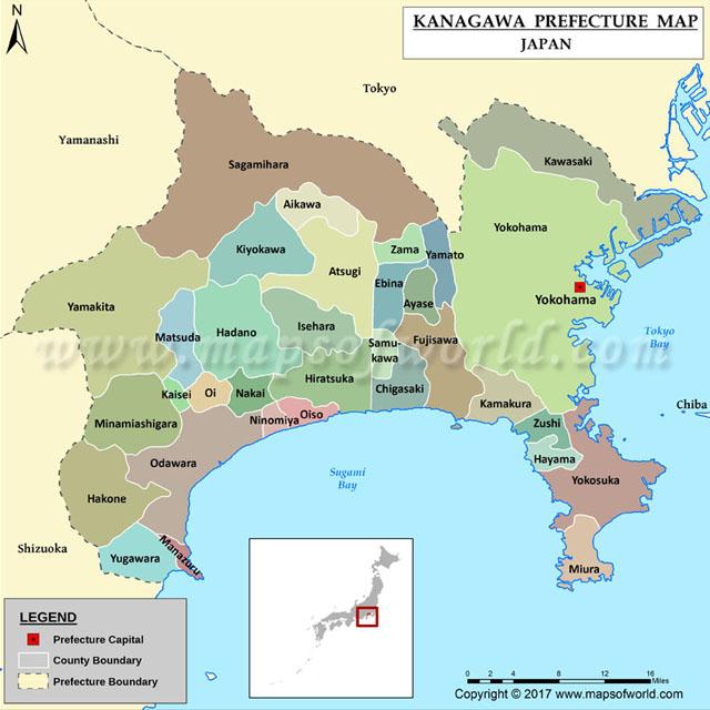 Bản đồ tỉnh Kanagawa Nhật Bản