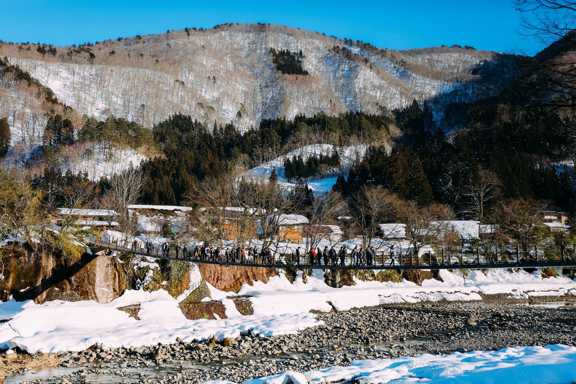Cây cầu dây dẫn vào làng cổ Shirakawago