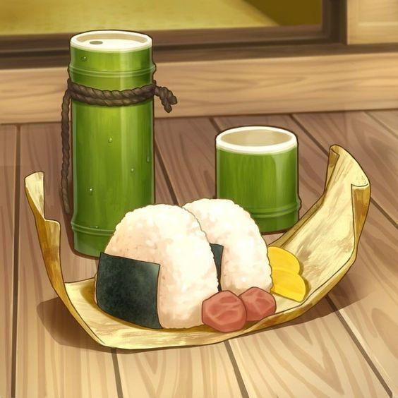 Cơm nắm Onigiri trong đồ ăn anime